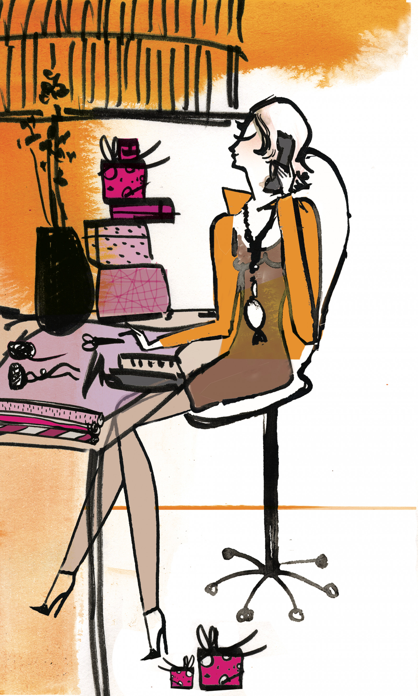 Silke Gerloff am Schreibtisch